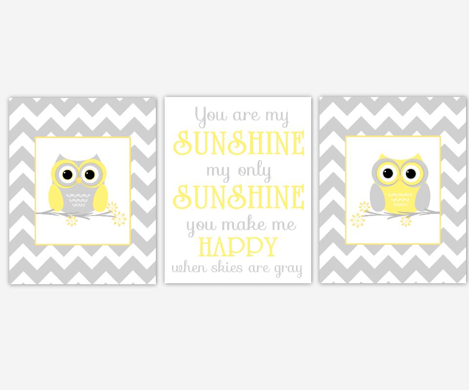 Baby Girls Nursery Wall Art Yellow Gray Grey You Are My Sunshine Quatrefoil Owls Canvas Prints Baby Nursery Decor