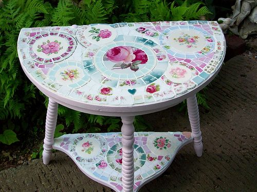 ADORABLE PINK SHABBY MOSAIC TILE HALF TABLE -SOLD