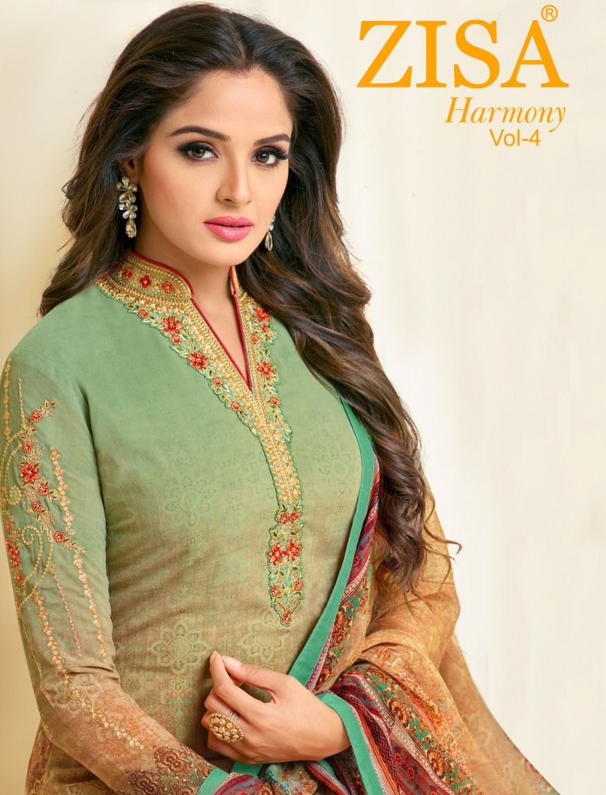 bbeb3c1e7b Meera Trendz Zisa Harmony Vol 4 Digital Printed Georgette with Embroidery  Work Dress Material Dealer Surat