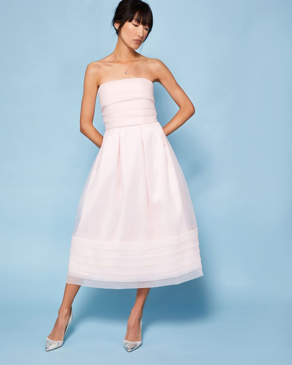 Strapless tiered maxi dress - Pink | Dresses | Other Europe Site ...