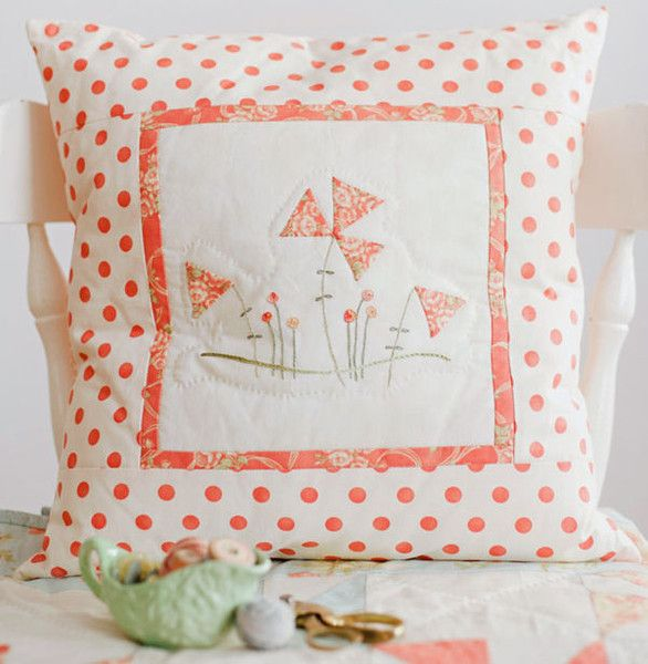 hand embroidered pillow pattern now at Stitching Cow