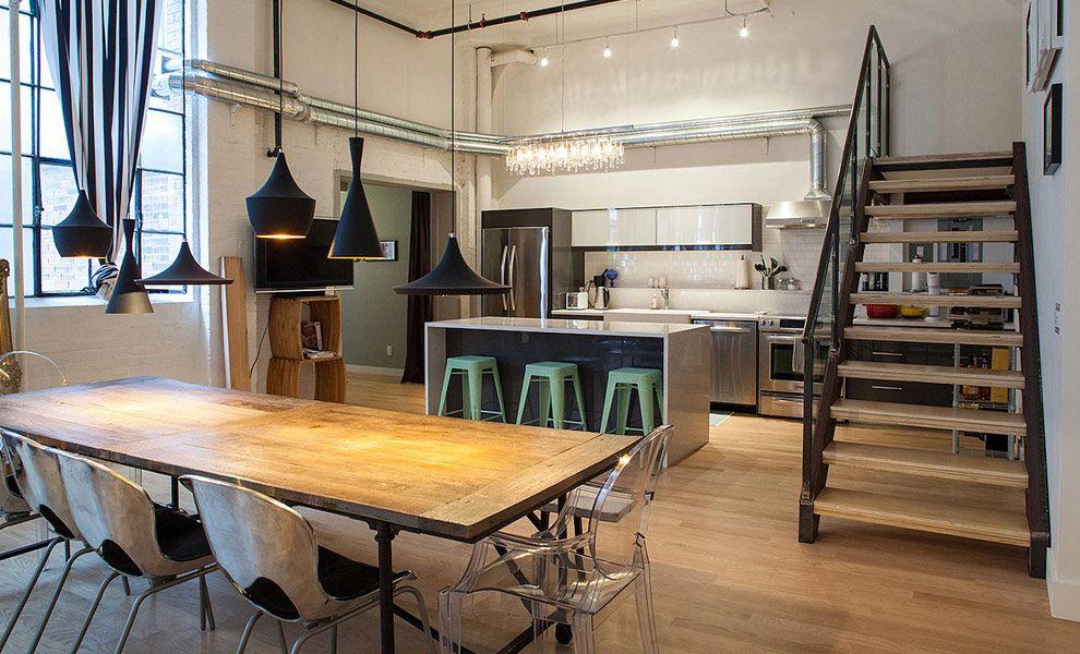 Industriële loft met eclectisch interieur - industrieel interieur ...