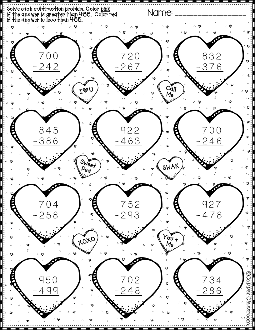 Valentine's Day 3-Digit Subtraction with Regrouping