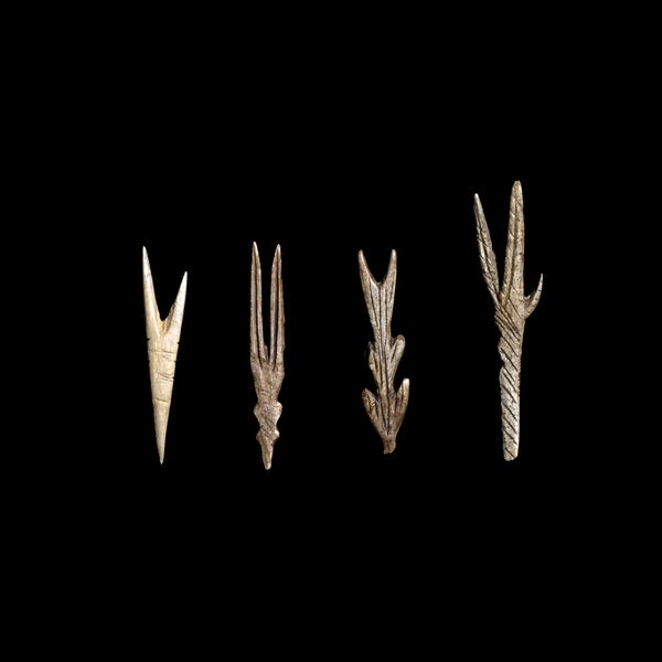 Fishhooks - Late Magdalenian, about 12,500 years old From the cave of Courbet, Penne-Tarn, France
