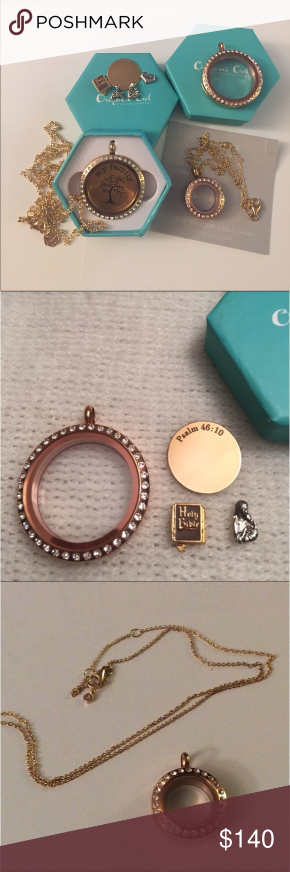 "Bundle of Origami Owl Bundle includes: 1 large locket (gold tone), 1 large locket (rose gold tone), 1 mini (tose gold tone), 1 large ""Family"" tree, 1 medium plate, 1 chain (16-18"" rose gold tone), 1 chain (30"" gold tone) 4 charms (bible, angel, amor, virgen Mary). All authentic pieces. Smoke and pet free home. Origami Owl Jewelry"