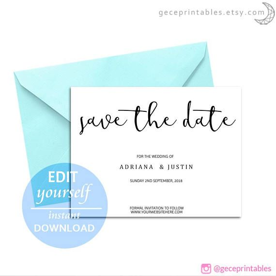 Save The Date Template DIY Download Editable And Printable Rustic - Free customizable save the date templates