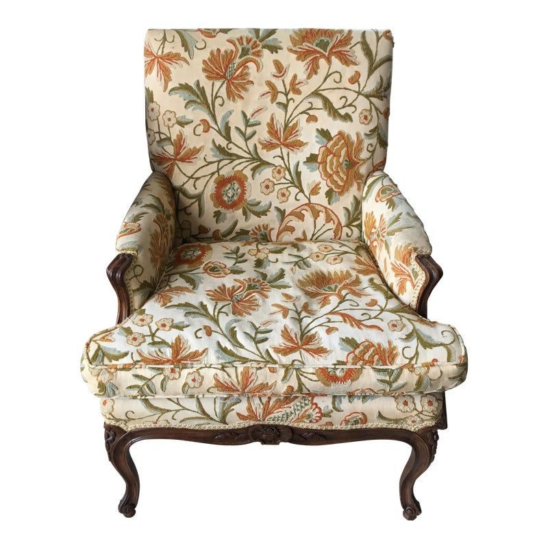 French Floral Upholstered Chair Upholstered Chairs Vintage