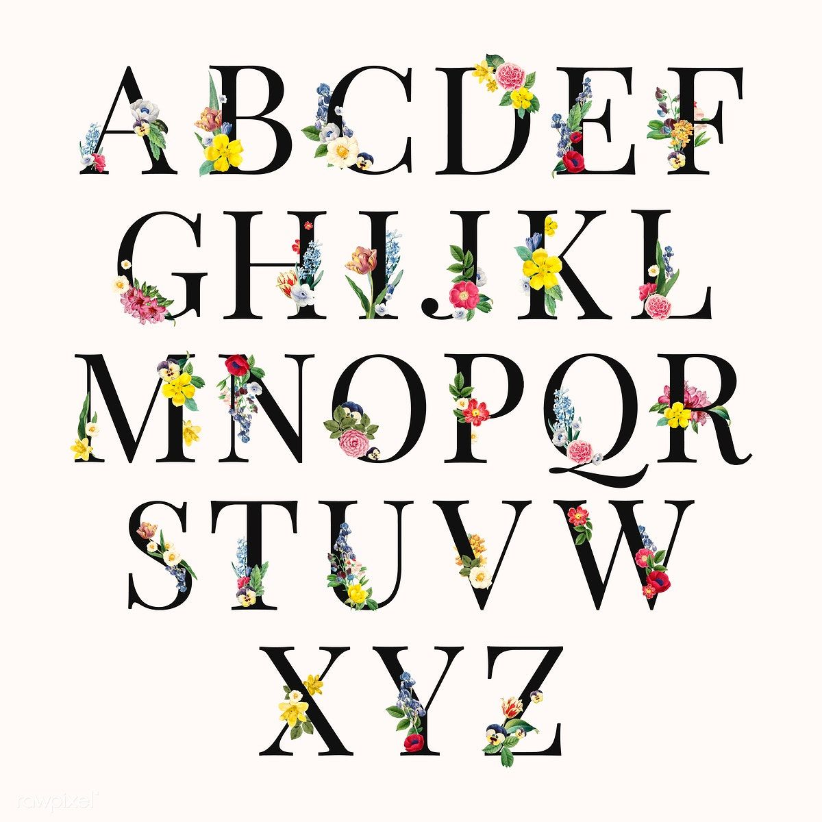 Floral capital alphabet set vector free image by