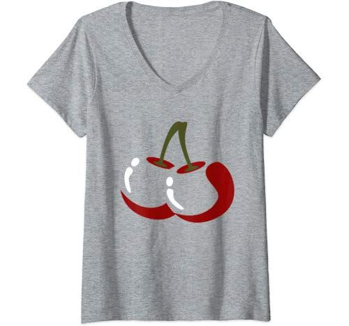 Womens Big Cherry Costume Cute Easy Vegetable Halloween Gift V Neck T Shirt Women #area51partyoutfit