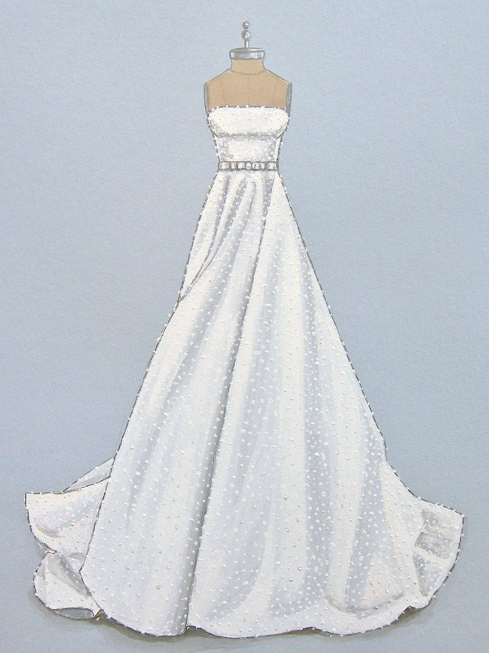 Porfolio of custom wedding dress sketches and illustrations for