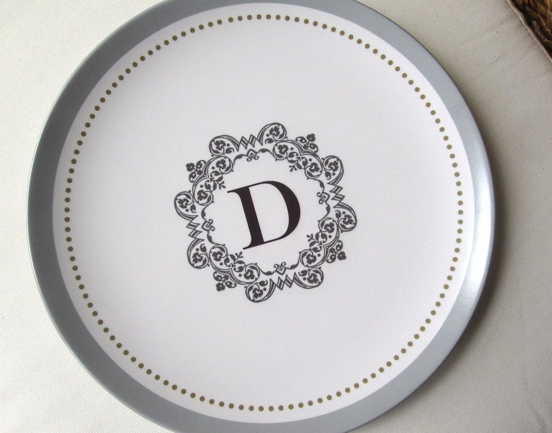 Personalized Melamine Plate Filigree Monogram 21 00