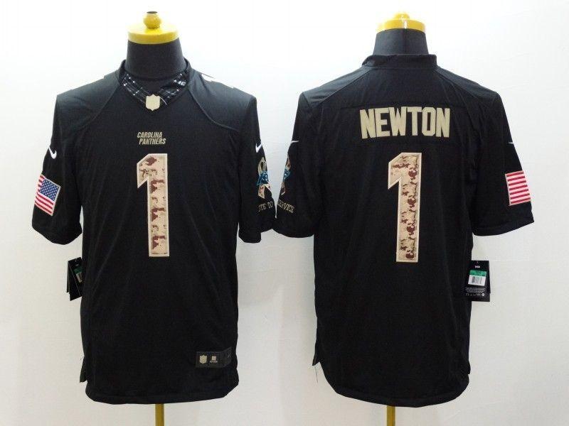 Carolina Panthers 1 Newton Black Nike Salute TO Service Jerseys ... d9dcadd09