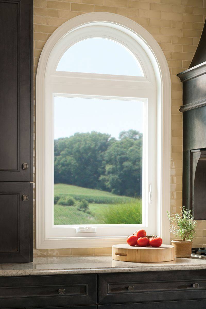 Casement window with radius top tuscany series vinyl for Who makes the best vinyl windows