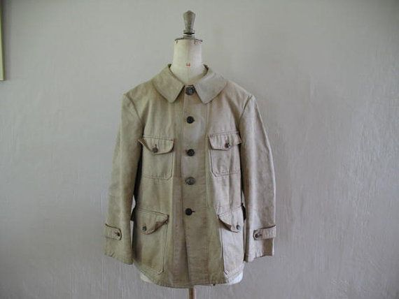 Antique French chore canvas mans hunting jacket by AtelierHope