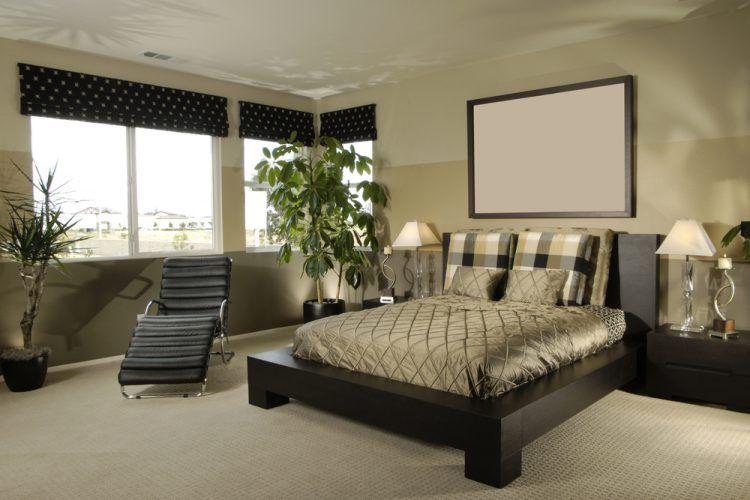 master bedroom with brown color scheme