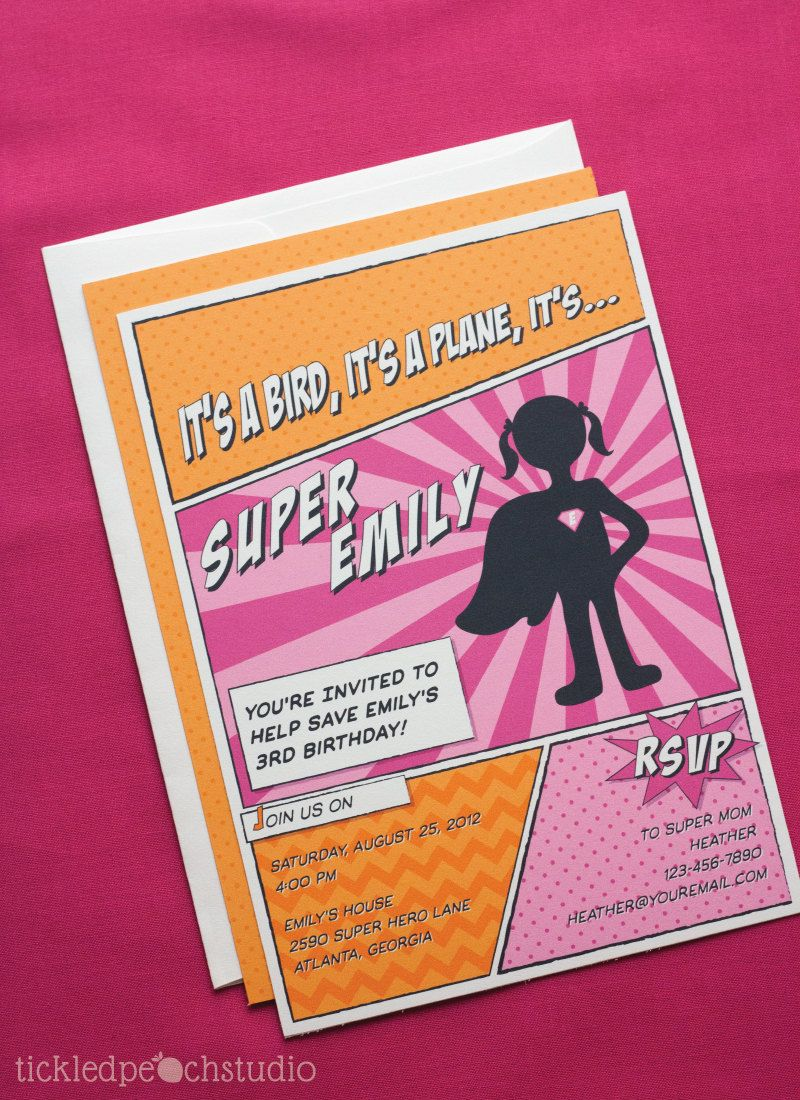 Super Hero Girl Birthday Party Invitation