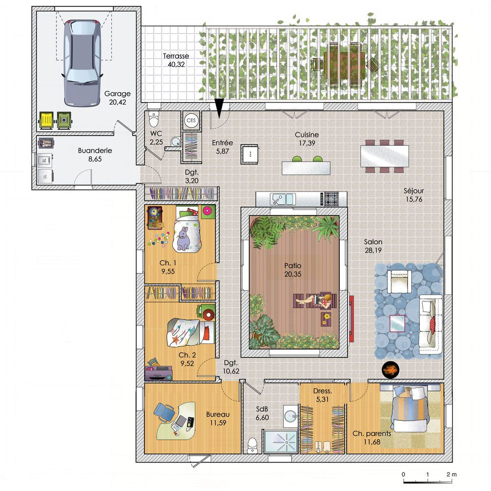 Découvrez les plans de cette une grande maison de plain pied sur www construiresamaison