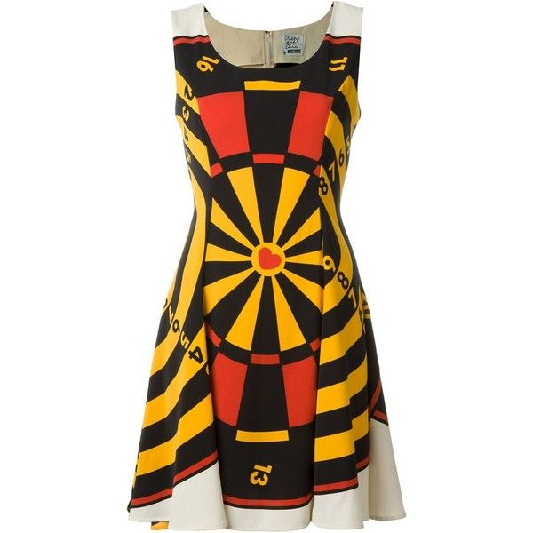 Moschino Vintage Dartboard Print Dress ($639) ❤ liked on Polyvore featuring dresses, multicolour, colorful dresses, vintage day dress, sleeveless short dress, vintage dresses and scoop neck dress