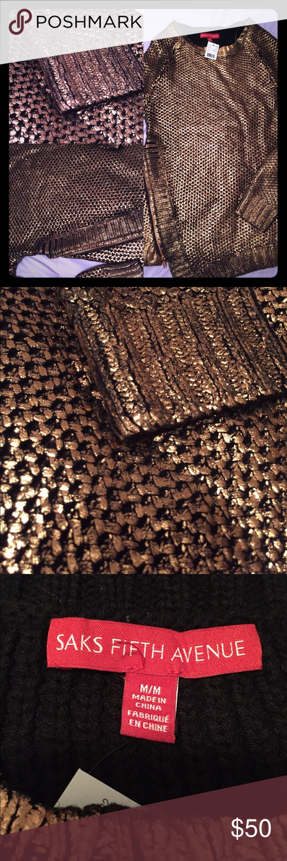 Saks Metallic Foil Copper Knit Sweater Cool edgy sweater will spice up any wardrobe! Looks GREAT with a simple pair of black leggings and boots but really stands out. Zipper embellishment. Super comfortable. Never worn Saks Fifth Avenue Sweaters