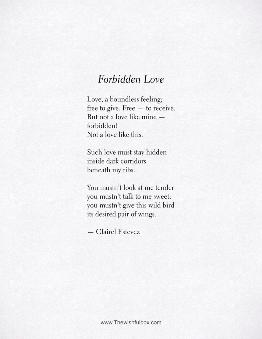 Forbidden Love. Inspirational poetry about love, life and