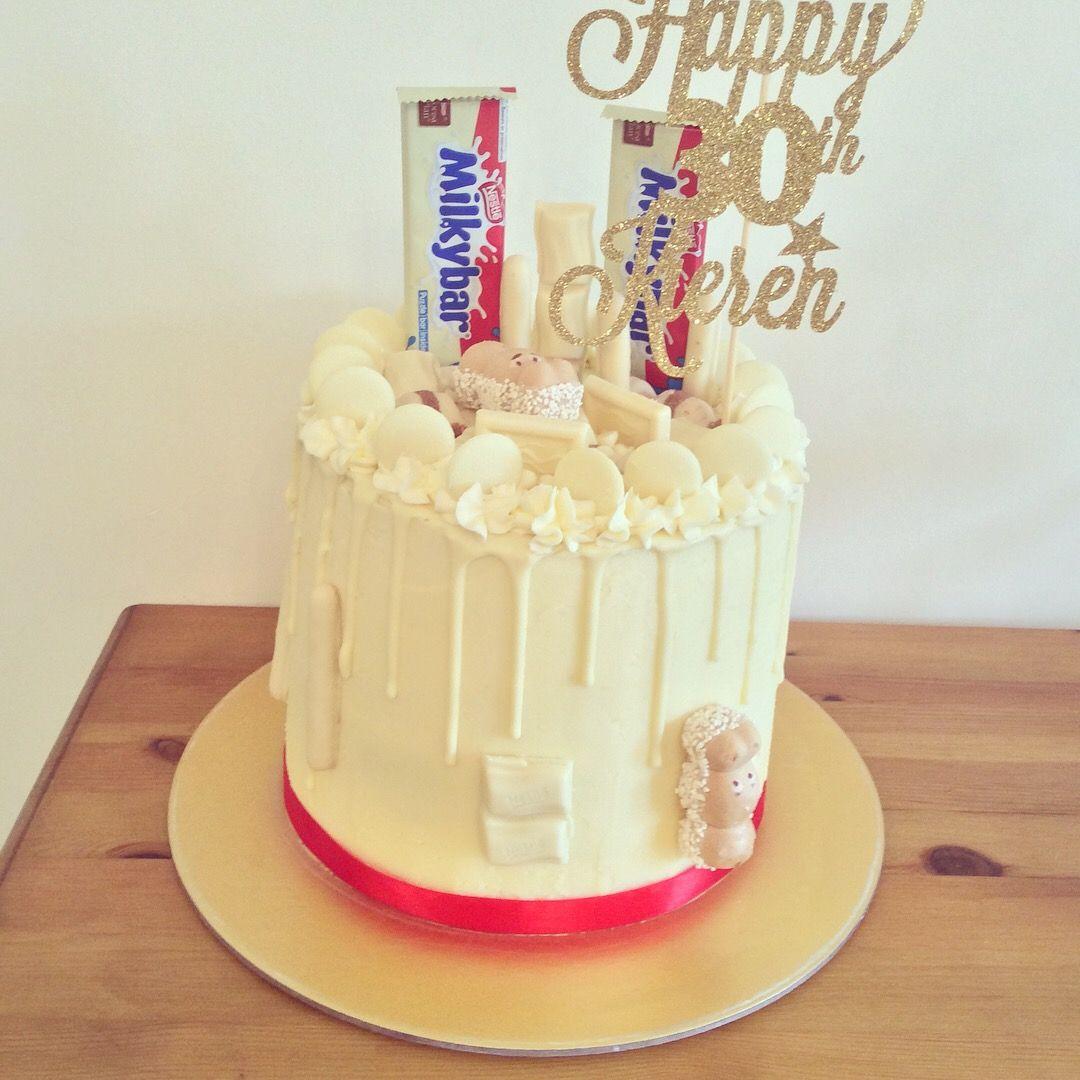 Milky Bar And White Chocolate Drip Cake