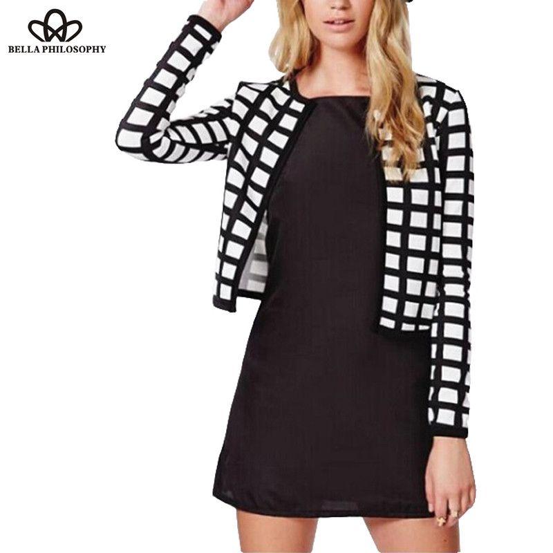 2017 봄 가을 새로운 화이트 블랙 체크 무늬 인쇄 얇은 폭격기 재킷 가디건