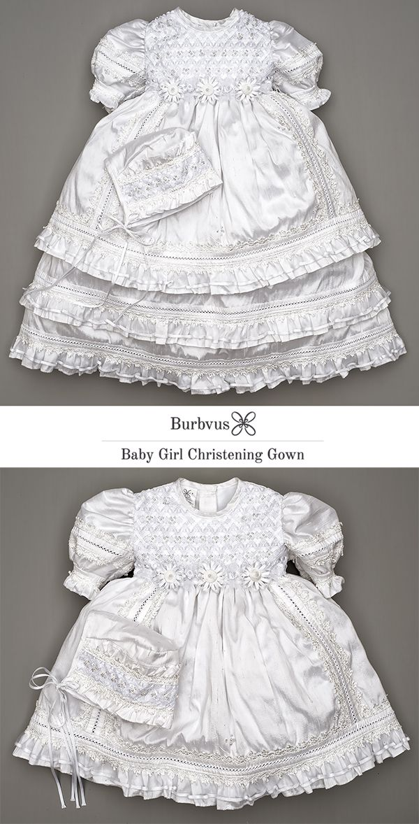 HandMade Christening Gown for Girls - Embellished Baptism dress ...