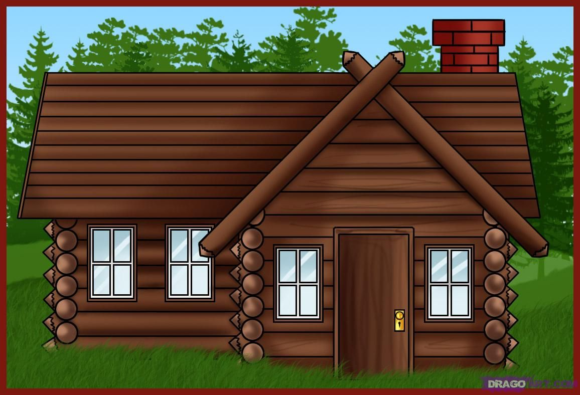 Perfect Free Cartoon House Pictures | How To Draw A Log Cabin House
