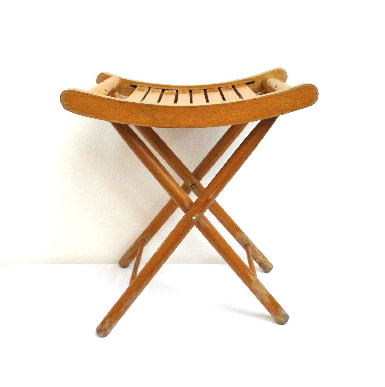 Vintage Wood Folding Chair Stool Patio Slatted Seat Small Wooden End Side  Table Coffee Table Child Chair Rustic Decor Mid Century Furniture By  WoodHistory ...