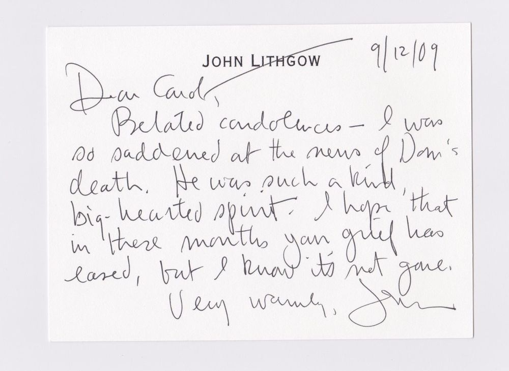 Condolence Letter From John Lithgow To Carol Deluise Celebrity
