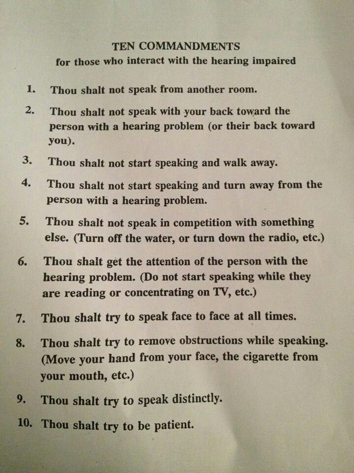 Lyric lyric hearing aid problems : Ten Commandments for those who interact with the hearing impaired ...