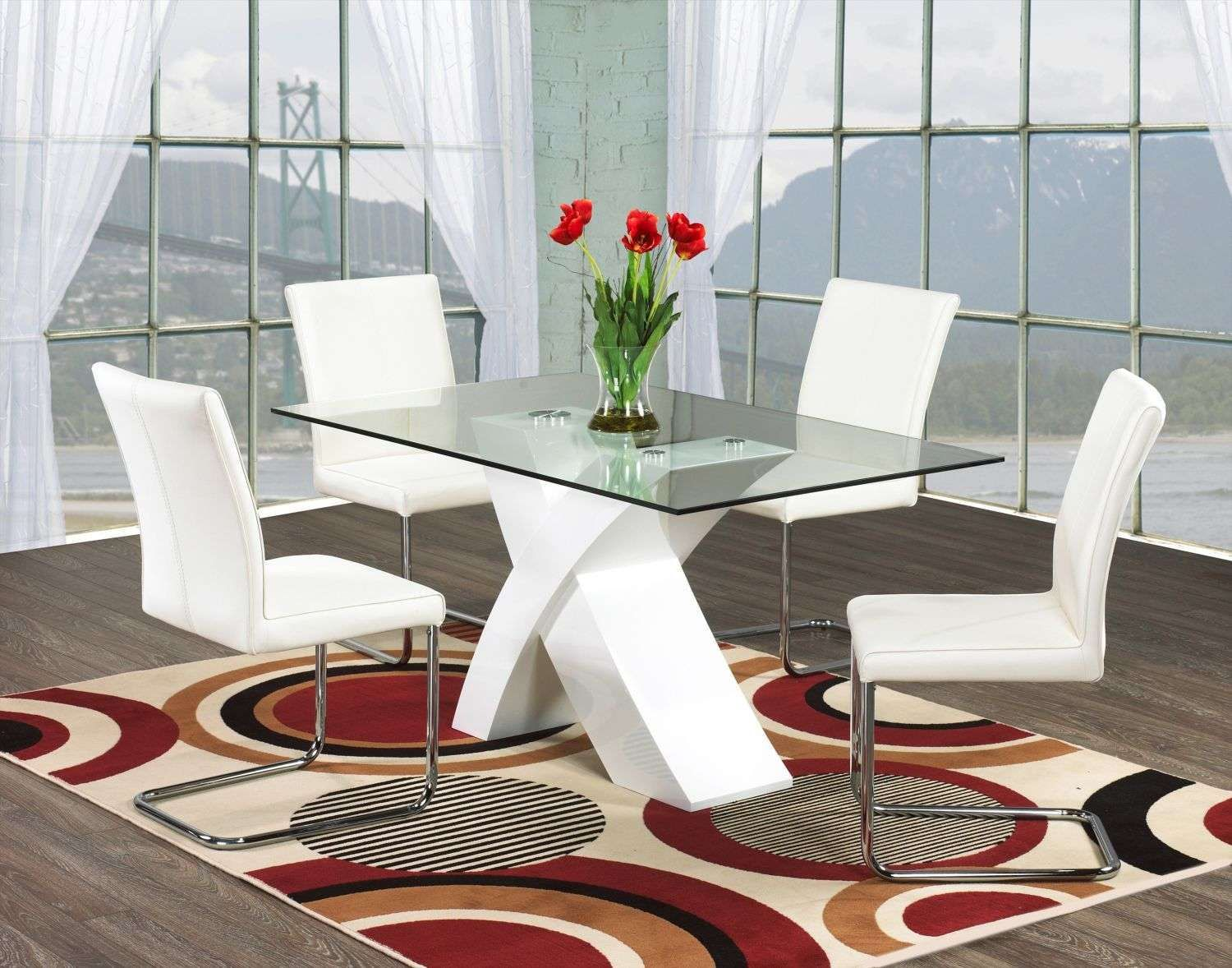 Modern Round Dining Table Glass Room