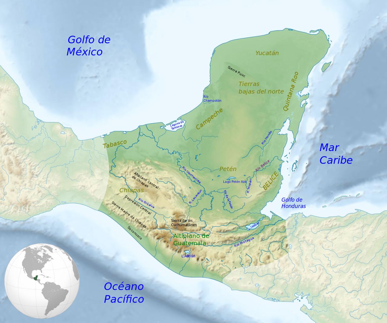 Maya Civilization Location Map Geography 1 Cultura Maya Wikipedia La Enciclopedia Libre Cultura Maya Territorio De Mexico Peninsula De Yucatan