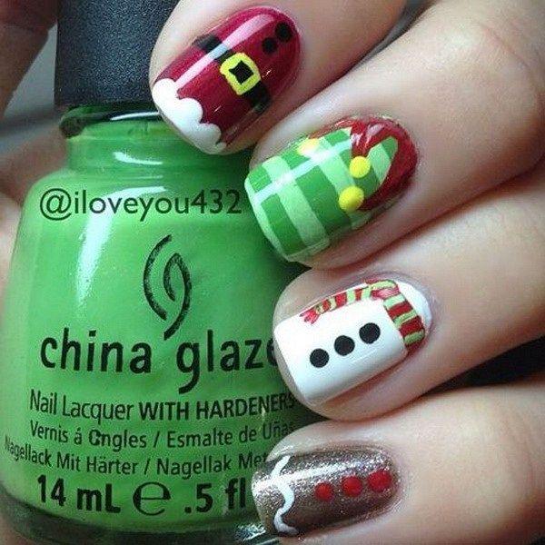 74 Festive Christmas Nail Designs for 2017   Diseños de uñas, Uñas ...