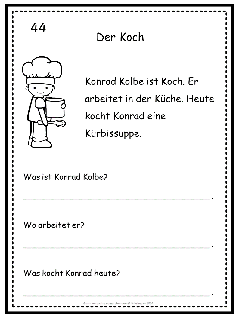 German Reading Comprehension 50 Mini Stories | Reading comprehension ...
