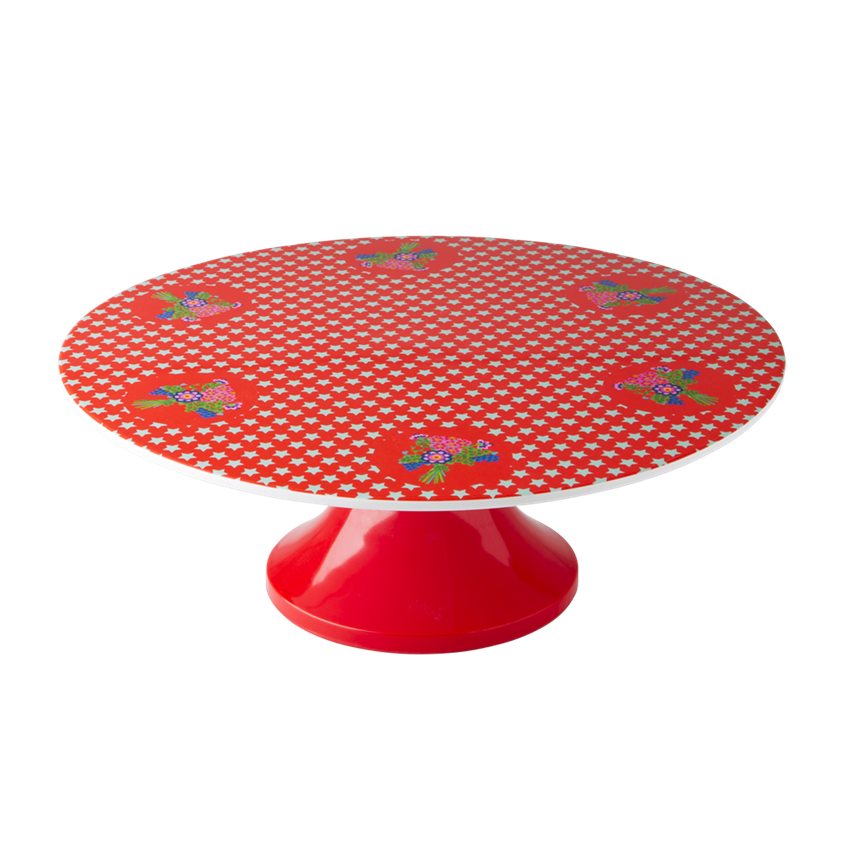 Pretty Patterned Cake Plate (red posies) | tea | Pinterest