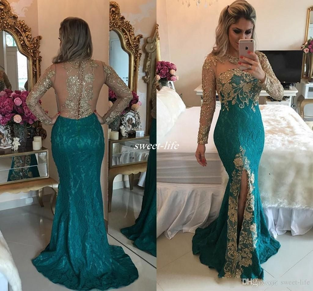 vestidos vintage hunter mermaid long sleeve evening dresses