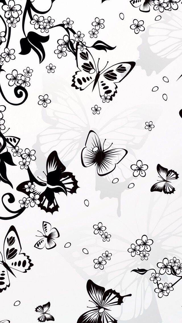 Black N White Butterflies Butterfly Background Wallpaper Flowers