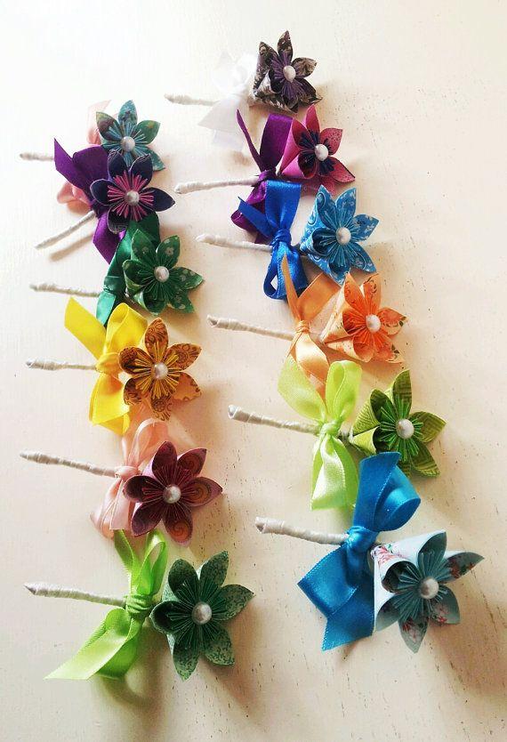 Fleur en papier boutonnière Boutonnière mariage accessoires Corsage arc-en-Multi couleur #paperflowerswedding