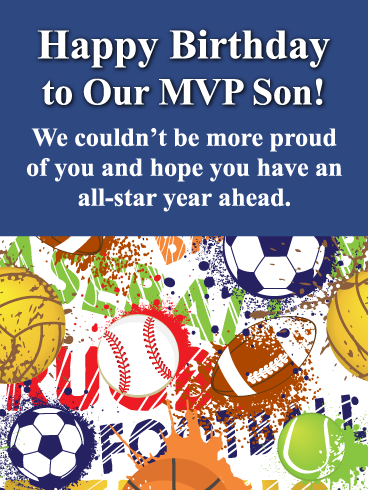 To Our Mvp Son Happy Birthday Card For Son From Parents Birthday Greeting Cards By Davia Birthday Cards For Son Birthday Greeting Cards Birthday Card Printable