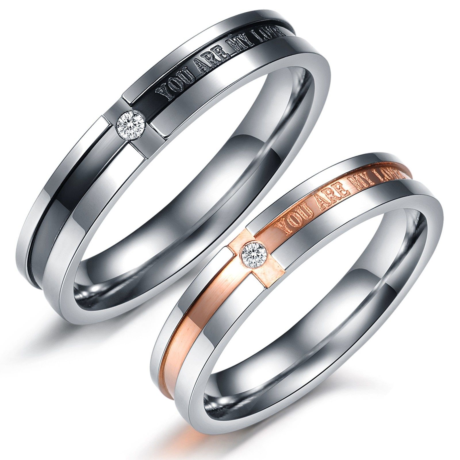 Simple bu elegant couples rings Matching Couple Titanium Steel