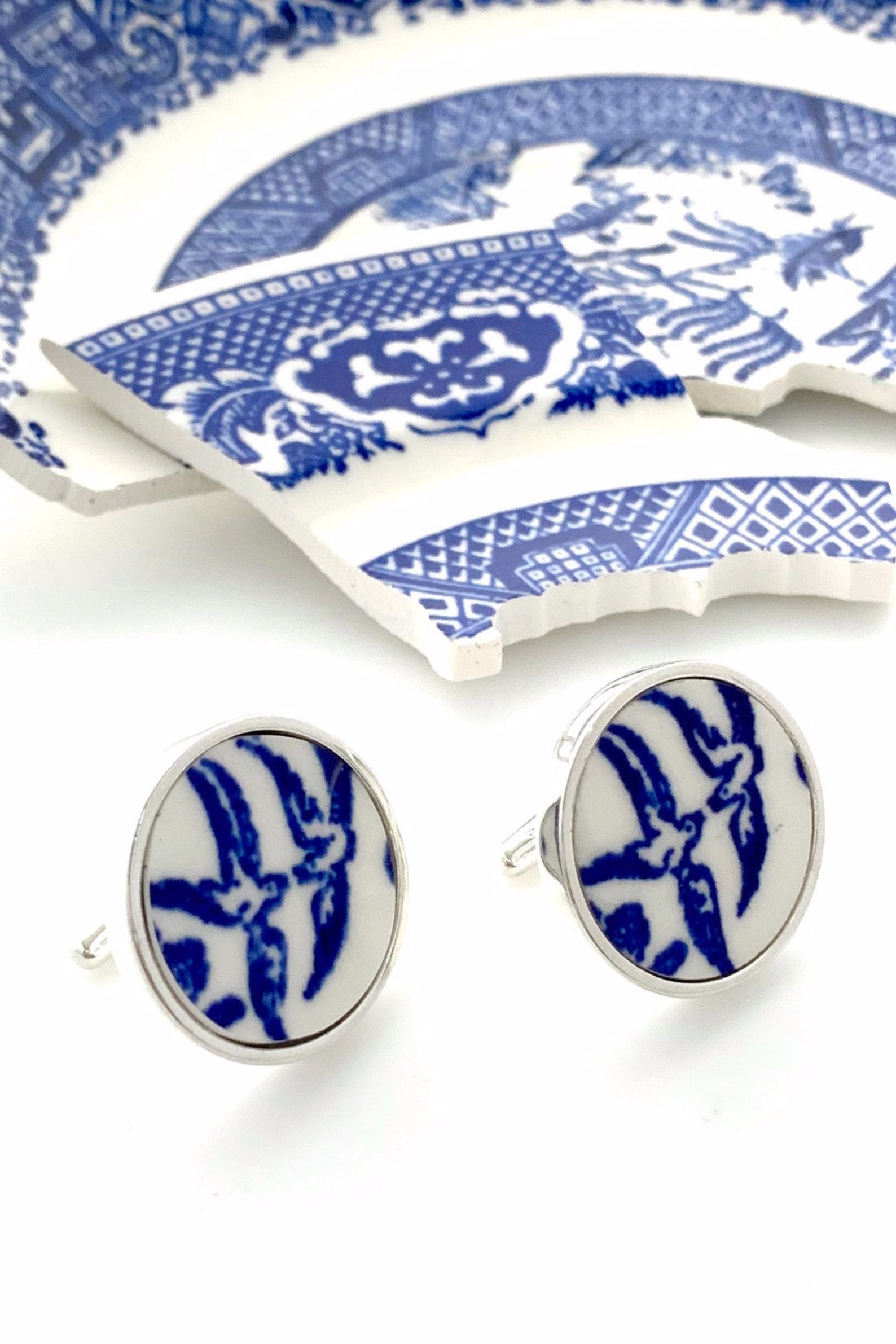 Blue Willow China Cuff Links #20thanniversarywedding