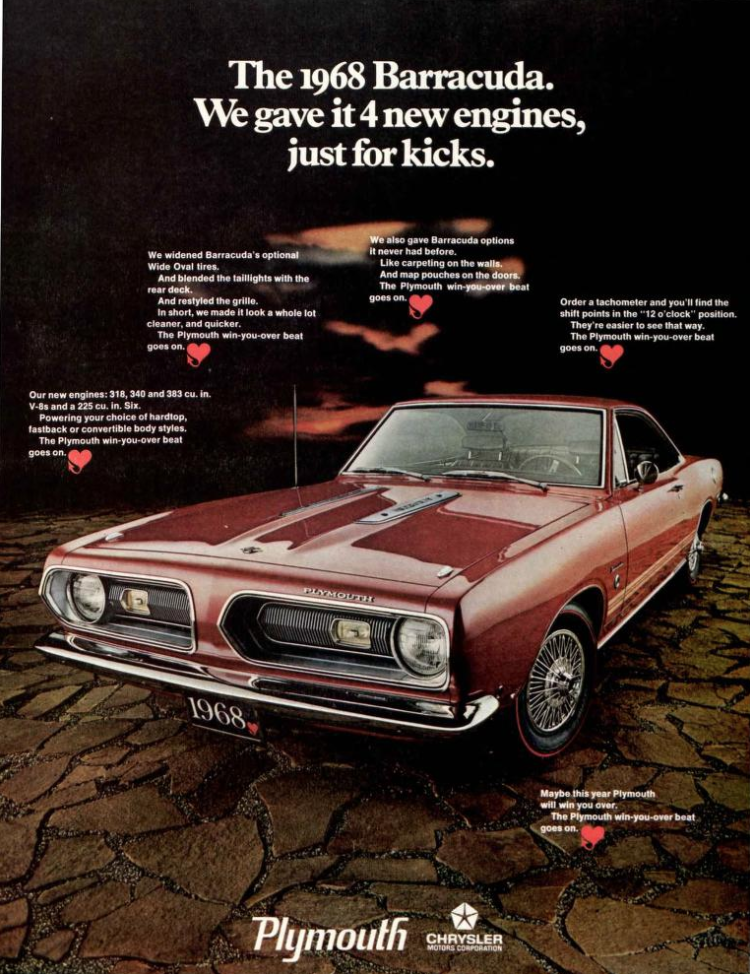 1968 Plymouth Barracuda Advertisement In 2020 1968 Plymouth Barracuda Plymouth Barracuda Plymouth