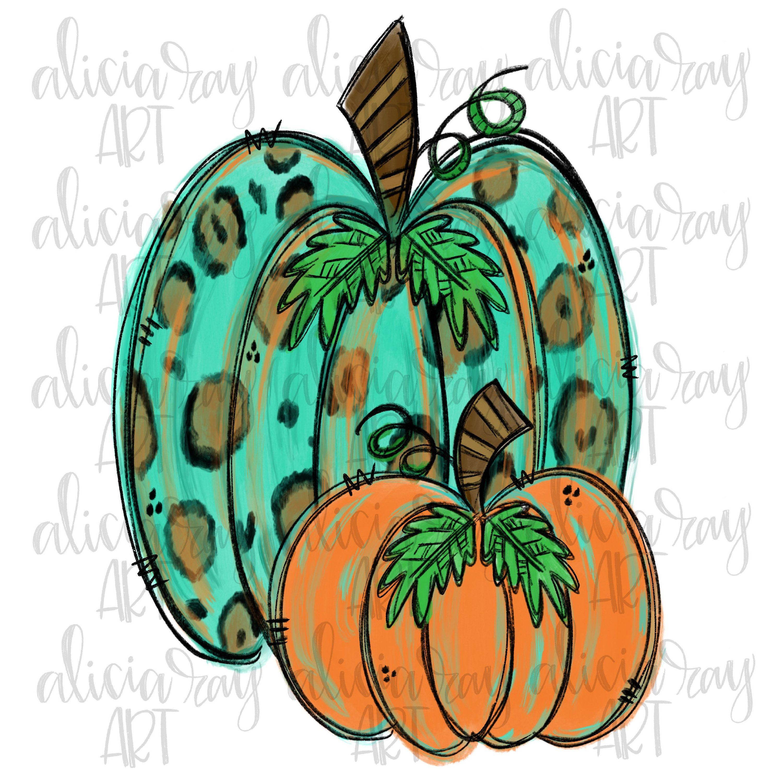 Pumpkin Sublimation Design Hand Drawn Leopard Pumpkin