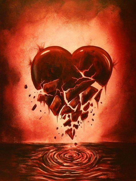 CANVAS 'Love Lost' Broken Heart Painting Gallery Wrapped Wall Decor by Ed Capeau #Surrealism