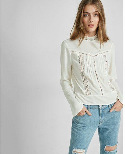 5a13747a426 Express mock neck lace inset blouse