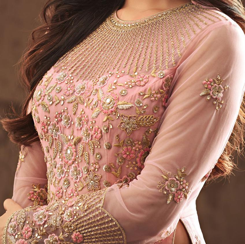 Blush Pink Designer Heavy Embroidered Net Wedding Anarkali Suit Anarkali Suits Blush Pink Outfits