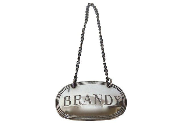 Sterling Brandy Decanter Label, 1908