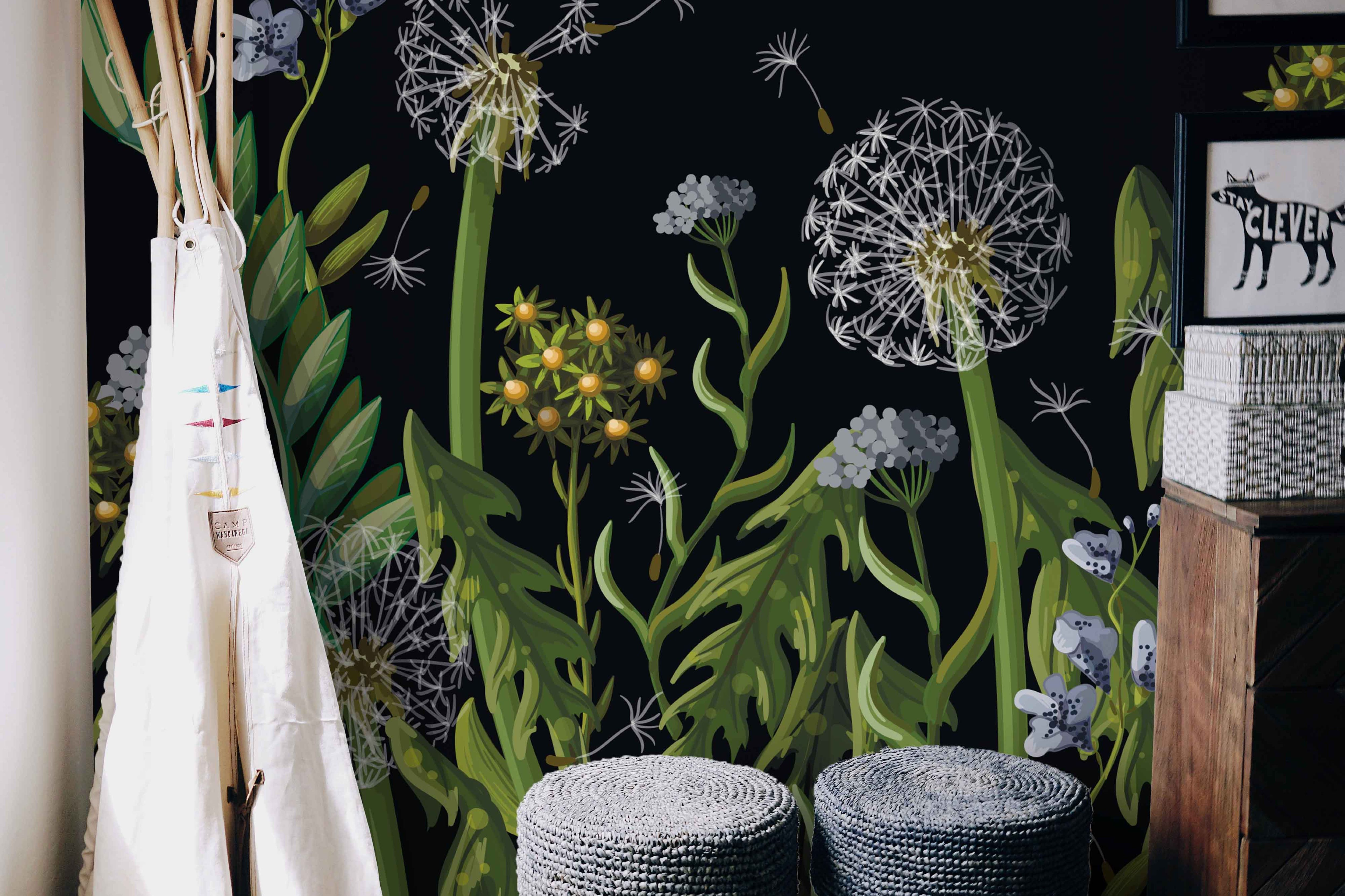 Dandelions on Black Background Wall Mural - Removable Self ...