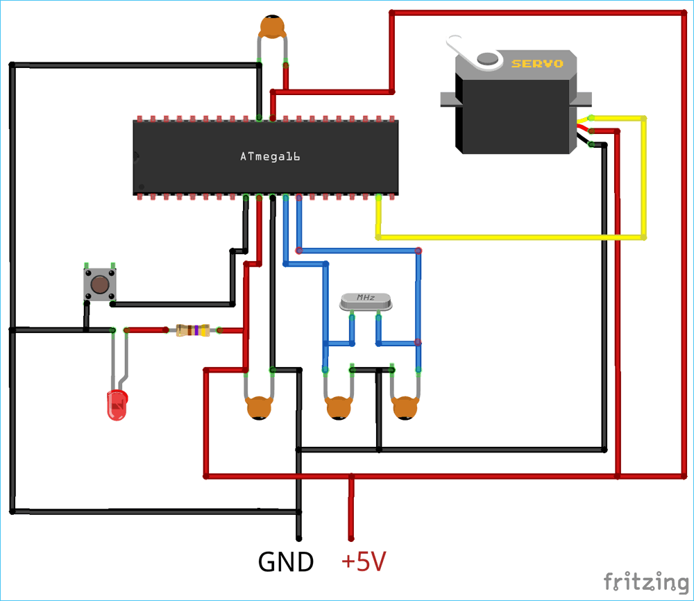 circuit diagram for interfacing servo motor with atmega16 [ 1000 x 866 Pixel ]